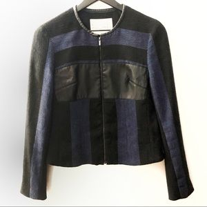 Rachel Roy Blue & Black Knit Moto Jacket | 4